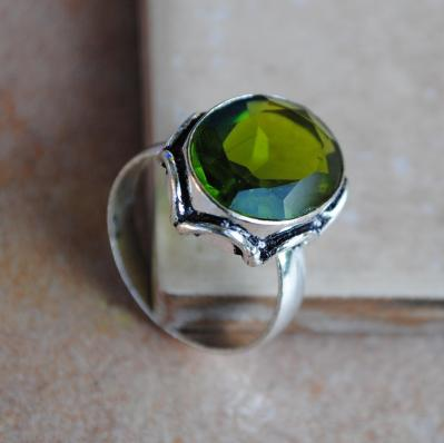 PER-005 - Belle BAGUE T 57 avec Cabochon PERIDOT vert - argent 925 - 25 carats 5g