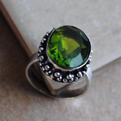 PER-009a - Belle BAGUE T 58 avec Cabochon PERIDOT vert - argent 925 - 29 carats 5.8g