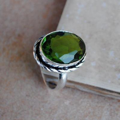 PER-010 - Belle BAGUE T 55 avec Cabochon PERIDOT vert - argent 925 - 27 carats 5.4g