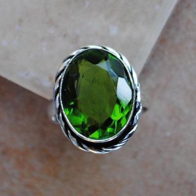 PER-010a - Belle BAGUE T 58 avec Cabochon PERIDOT vert - argent 925 - 27 carats 5.5g