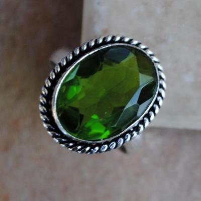 PER-011c - Belle BAGUE T 60 avec Cabochon PERIDOT vert - argent 925 - 24 carats 4.8 g