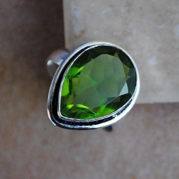 PER-012b - Belle BAGUE T 56 avec Cabochon PERIDOT vert - argent 925 - 24 carats 4.8 g
