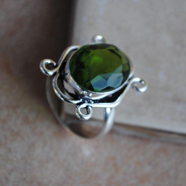 PER-016 - Belle BAGUE T 55 avec Cabochon PERIDOT vert - argent 925 - 26 carats 5.3 g