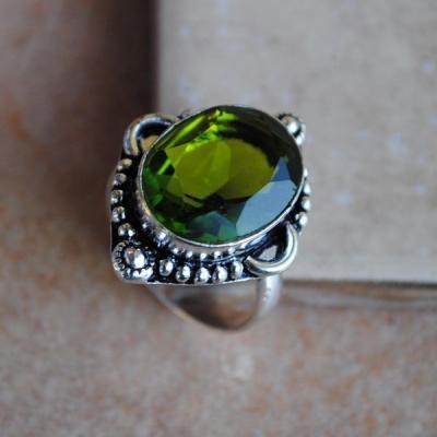PER-020 - Belle BAGUE T 56 avec Cabochon PERIDOT vert - argent 925 - 29 carats 5.8g