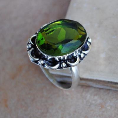 PER-022 - Belle BAGUE T 58 avec Cabochon PERIDOT vert - argent 925 - 25 carats 5.1g