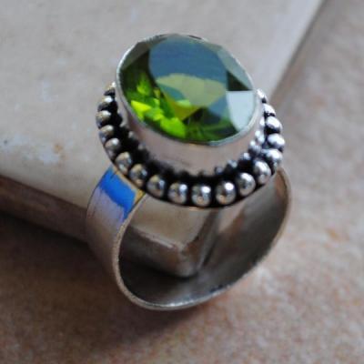 PER-023 - Belle BAGUE T 50 avec Cabochon PERIDOT vert - argent 925 - 25 carats 5 g
