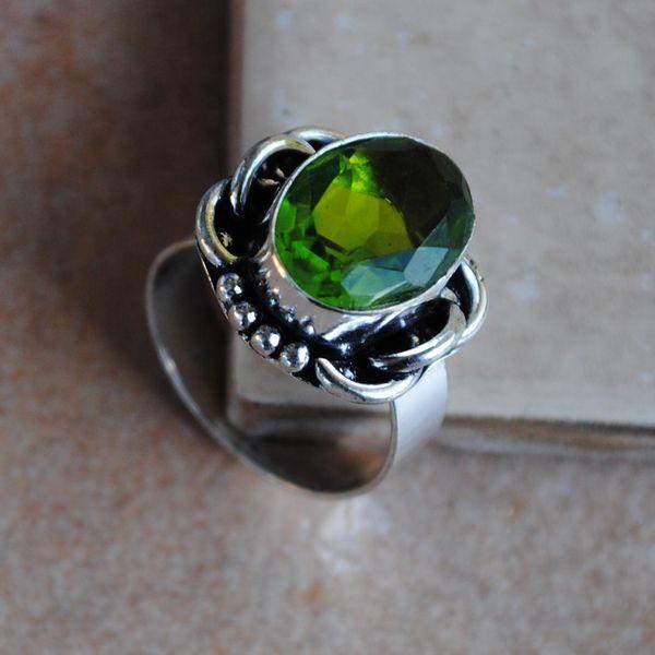 PER-025 - Belle BAGUE T 57 avec Cabochon PERIDOT vert - argent 925 - 26 carats 5.3 g