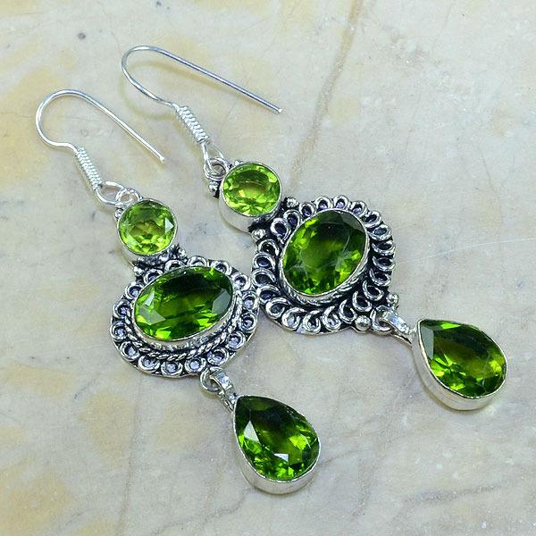 Per 047a boucles pendants oreilles peridot argent 925 achat vente bijou 1