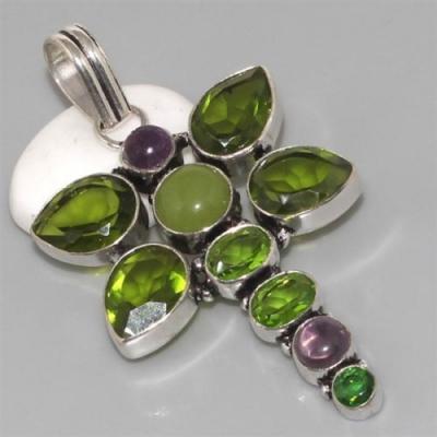 PER-069 - Grand PENDENTIF PENDANT avec 7 PERIDOTS - 77 carats 15 gr - argent 925
