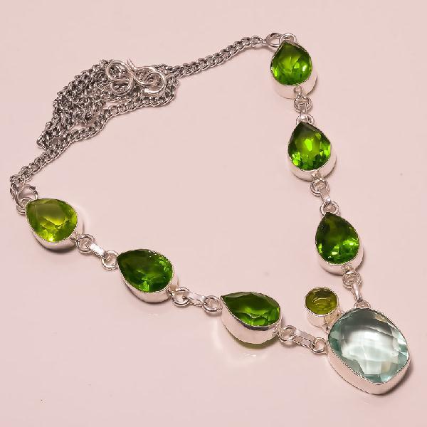 Per 074a collier parure sautoir peridot aigue marine argent 925 achat vente bijou