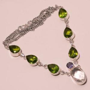 Per 076a collier parure sautoir peridot topaze amethyste argent 925 achat vente bijou