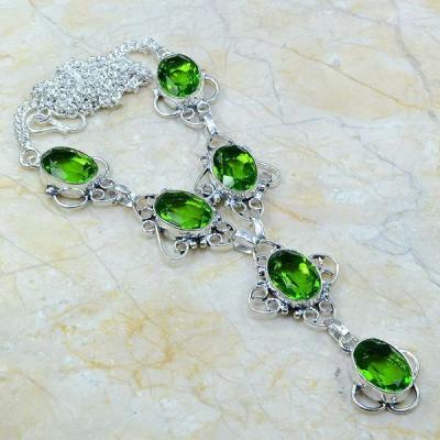 Per 094a collier parure sautoir peridot argent 925 achat vente bijou