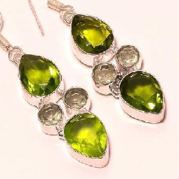 Per 105c boucles pendants oreilles peridot amethyste verte argent 925 achat vente bijou