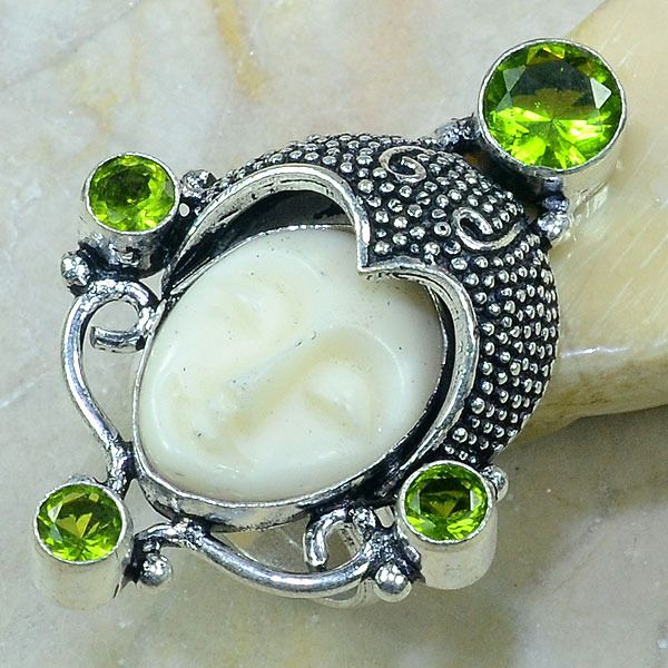 Per 120a bague t53 bouddha peridot jade bijou argent 925 achat vente