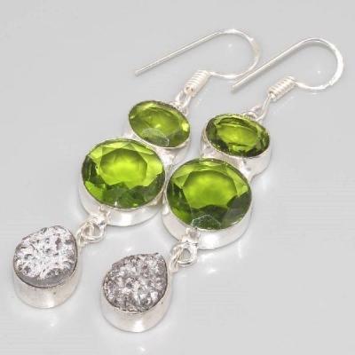 Per 123b boucles pendants oreilles peridot titane argent 925 achat vente bijou 1