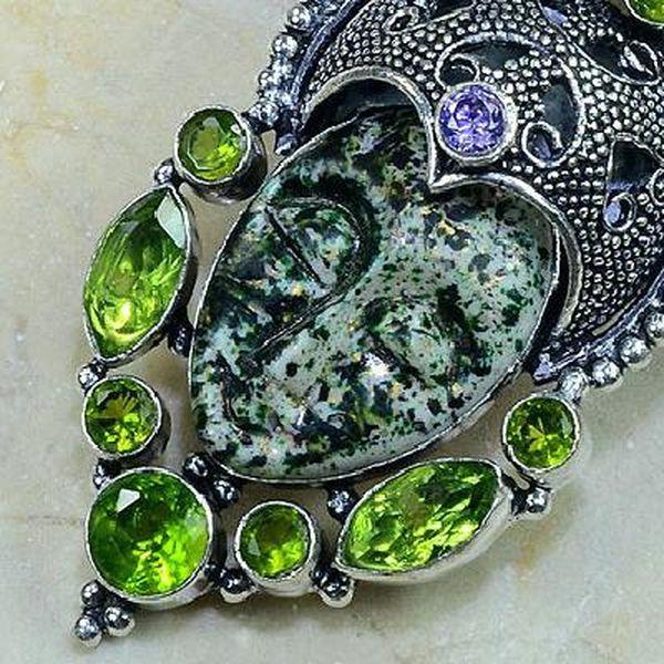 Per 132b pendant pendentif bouddha peridot amethyste jaspe argent 925 achat vente bijou