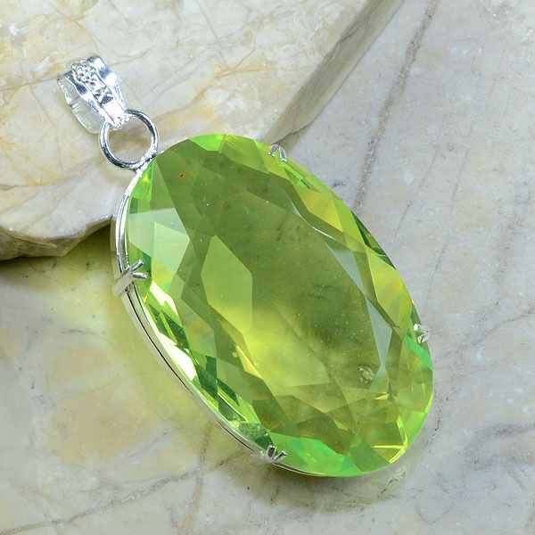 Per 149a pendant pendentif peridot pierre taillee gemme argent 925 achat vente bijoux 1
