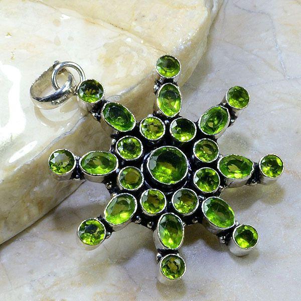 Per 195a pendant pendentif etoile peridot argent 925 achat vente bijoux