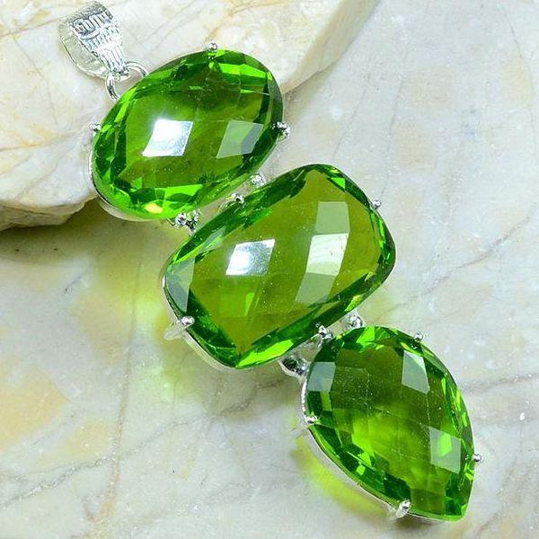 Per 199a pendant pendentif peridot pierre taillee gemme argent 925 achat vente bijoux