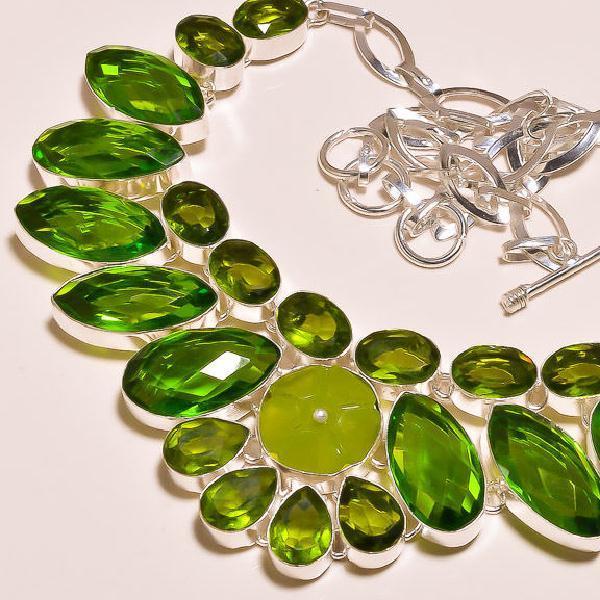 Per 203c collier parure sautoir renaissance grand siecle peridot quartz argent 925 achat vente