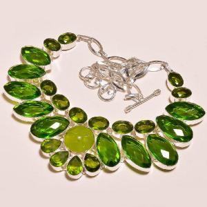 Per 203d collier parure sautoir renaissance grand siecle peridot quartz argent 925 achat vente