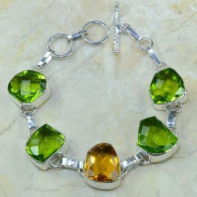 Per 207a bracelet peridot citrine argent 925 achat vente bijoux