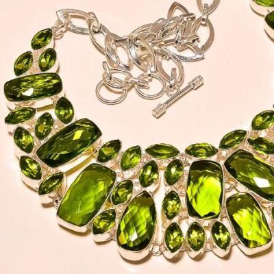 Per 209c collier parure sautoir renaissance grand siecle peridot quartz argent 925 achat vente