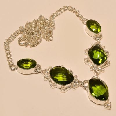 Per 210a collier parure sautoir renaissance grand siecle peridot quartz argent 925 achat vente