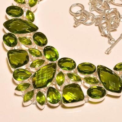 Per 216b collier parure sautoir renaissance grand siecle peridot quartz argent 925 achat vente