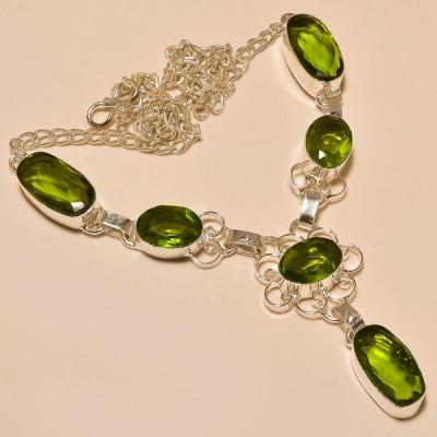 Per 219a collier parure sautoir peridot quartz argent 925 achat vente