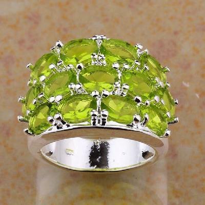 Per 250b bague t52 peridot fiancailles quartz vert bijou argent 925 achat vente
