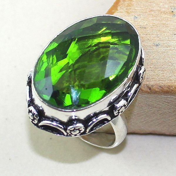 Per 254a bague t58 peridot chevaliere quartz vert bijou argent 925 achat vente
