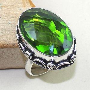 Per 254b bague t58 peridot chevaliere quartz vert bijou argent 925 achat vente