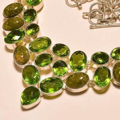 Per 255b collier parure sautoir peridot unakite quartz argent 925 achat vente