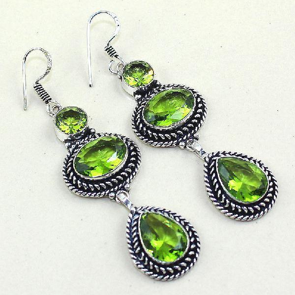 Per 256a boucles pendants oreilles peridot quartz argent 925 achat vente