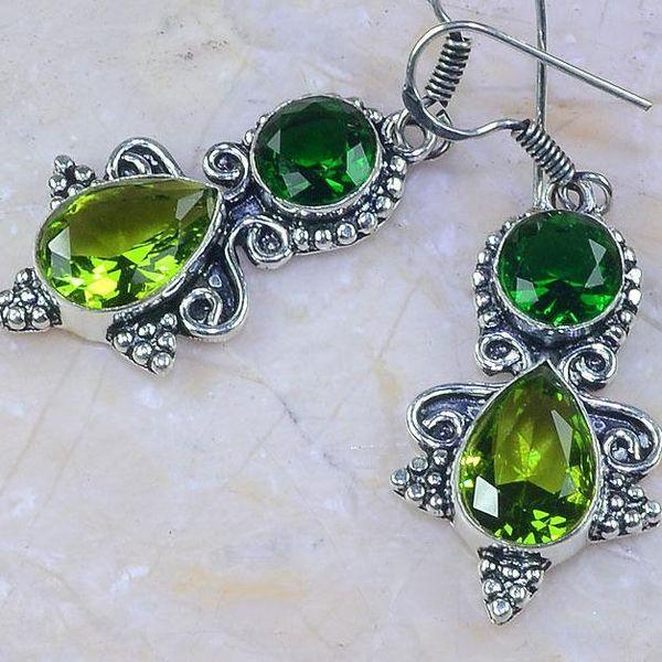 Per 267c boucles pendants oreilles peridot quartz argent 925 achat vente