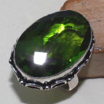Per 274a bague t59 medievale peridot chevaliere quartz vert bijou argent 925 achat vente 1