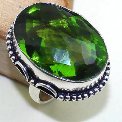 Per 275b bague t60 medievale peridot chevaliere quartz vert bijou argent 925 achat vente