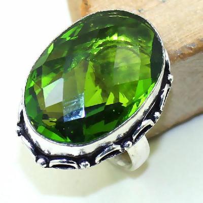 Per 276a bague t57 medievale peridot chevaliere quartz vert bijou argent 925 achat vente