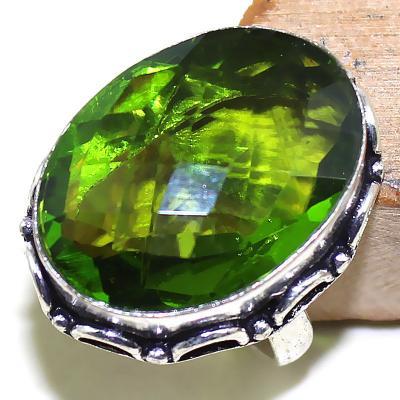 Per 278c bague t60 medievale peridot chevaliere quartz vert bijou argent 925 achat vente