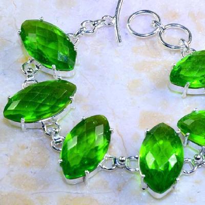 Per 285b bracelet peridot chevaliere quartz vert bijou argent 925 achat vente