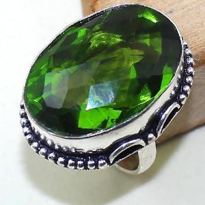 Per 286a bague t60 medievale peridot chevaliere quartz vert bijou argent 925 achat vente