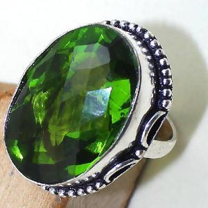 Per 286c bague t60 medievale peridot chevaliere quartz vert bijou argent 925 achat vente