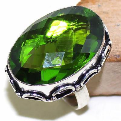 Per 289a bague t59 medievale peridot chevaliere quartz vert bijou argent 925 achat vente