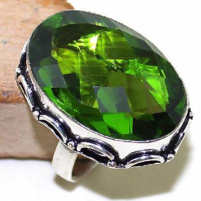 Per 290a bague t59 medievale peridot chevaliere quartz vert bijou argent 925 achat vente