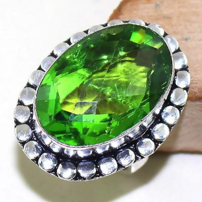 Per 291a bague t61 medievale peridot chevaliere quartz vert bijou argent 925 achat vente