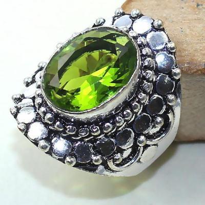 Per 292a bague t58 medievale peridot chevaliere quartz vert bijou argent 925 achat vente