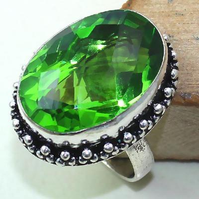 Per 293a bague t59 medievale peridot chevaliere quartz vert bijou argent 925 achat vente