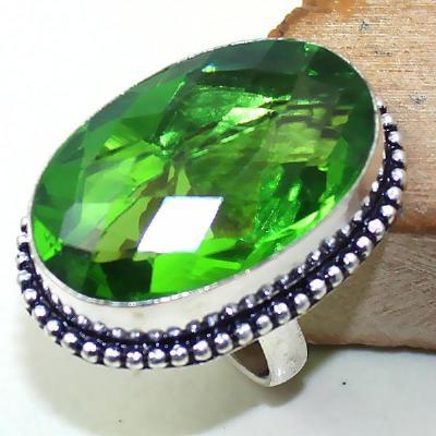Per 294a bague t58 medievale peridot chevaliere quartz vert bijou argent 925 achat vente