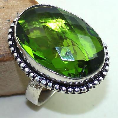 Per 296b bague t58 medievale peridot chevaliere quartz vert bijou argent 925 achat vente